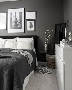 Royal bedding from Royfort in white and grey room ideas grey Room Ideas Bedroom, Bedroom Colors, Home Decor Bedroom, Grey Bedroom Furniture, White Bedroom Decor, Ikea Bedroom, Black And Grey Bedroom, Grey Room, Minimalist Bedroom