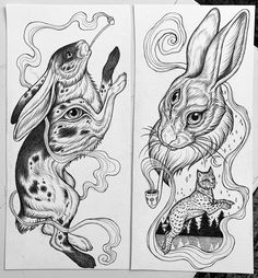 Anime Tattoos, Body Art Tattoos, Tatoos, Rabbit Tattoos, Bunny Drawing, Scary Art, Line Work Tattoo, Symbolic Tattoos, Cat Tattoo