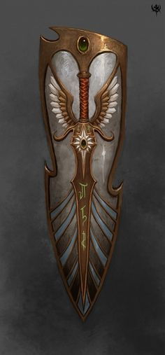 High Elves Shield for Warhammer Online, by Unknown Artist Earring detail inspo Fantasy Armor, Fantasy Weapons, Medieval Fantasy, Fantasy Sword, Rpg Dice, Warhammer Online, Armadura Medieval, 3d Cnc, High Elf