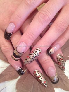 eye candy Nails & Training - Nails Gallery: Gold, black and peach leopard freehand nail art with edge acrylic nails by Elaine Moore on 23 February 2013 at 12:1
