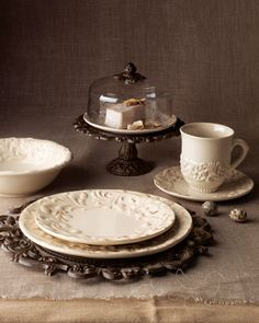 Ceramic Dinnerware Collection - Neiman Marcus.  Versailles Desert Pedestal With Cream Ceramic Cake Plate And Glass Dome With Finials