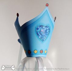 Crown (printable) Couronne des rois (Epiphanie) frozen blue with diamond heart, precious stones yellow and red - Delicate Russian style Bleu givré avec diamants