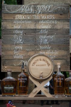 menu for the bar at your wedding // Engage!13: Barn Party //engage13.com at the Biltmore Estate www.biltmore.com/
