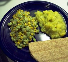 Succotash, mashed squash and a tortilla. Though it's not the most colorful meal in the world, it is full of soul-filling goodness. For added color, add slices of tomato, avocado and cheese to the meal as delicious sides.
