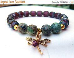ON SALE Dragonfly Charm Bracelet Boho Bracelet, Nature Bracelet, Purple and Green Bracelet Dragonfly Bracelet Czech Beaded Bracelet, Purple