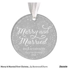 Shop Merry & Married First Christmas Photo Ornament created by BanterandCharm. Personalize it with photos & text or purchase as is! Our First Christmas Ornament, First Christmas Photos, Photo Christmas Ornaments, Christmas Gift Decorations, Christmas Themes, Christmas Gifts, Christmas Stuff, Christmas 2019, Holiday Crafts