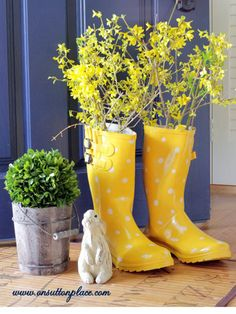Have an old pair of rainboots you're not sure what to do with? Why not transform them into brightly-colored planters following this easy tutorial from On Sutton Place? The burst of color is perfect for spring — or for the months preceding spring when you're desperate for any indication winter might just finally end.   - CountryLiving.com