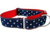 "Nautical Dog Collar 1.5"" Martingale Dog Collar"