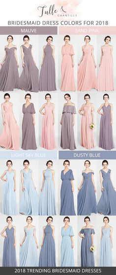 2018 trending bridesmaid dresses with more than 100 colors and styles #bridalparty #bridesmaiddresses #2018wedding