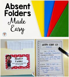 FREE Absent Folder printables. This makes having an absent student SO much easier.