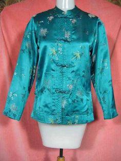 Vintage Teal Brocade Chinese Jacket at Robin Clayton Vintage