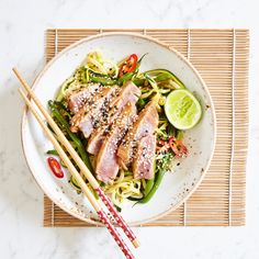 This is my delicious asian inspired Grilled Tuna with Green Beans and Courgetti...