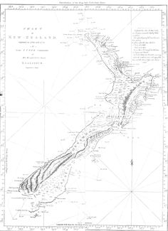 Captain Cook's map of New Zealand, drawn in Despite some of his errors, (Banks Peninsula is shown as an island, and Stewart Island is connected to the mainland), the chart is still remarkably accurate and detailed. Map Of New Zealand, New Zealand Beach, Nz History, Ancient History, George Gray, A Well Traveled Woman, Modern Hepburn, James Cook, Hungary Travel