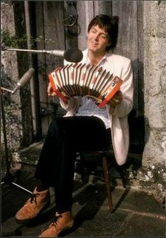Paul McCartney recording a lovely little squeezebox.