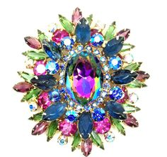 Juliana Brooch, Watermelon Rhinestone, Vintage Juliana Jewelry, Crystal Rhinestones, Pink and Blue