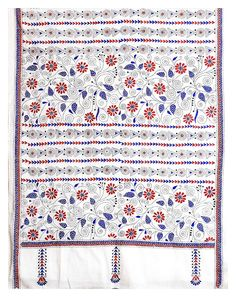 Blue and Brown Kantha Embroidery on White Cotton Stole (Cotton)