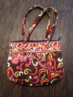 Vera Bradley Small hand Bag Tote in Puccini Red Brown Pink #VeraBradley #TotesShoppers