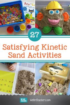 27 Satisfying Kinetic Sand Activities for Pre-K and Elementary School. Use kinetic sand activities to teach writing, reading, and math concepts while building fine motor skills and encouraging lots of creativity. Pre K Activities, Toddler Learning Activities, Alphabet Activities, Fun Learning, Sensory Activities, Brain Craft, Kinetic Sand, Learning The Alphabet, Math Concepts