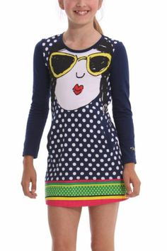 Desigual women's Annona long-sleeved dress. An ideal dress for modern girls who want to start dressing like young ladies.