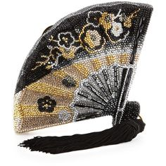 Judith Leiber Couture Fluttering Crystal Fan Minaudiere (13.430 RON) found on Polyvore featuring women's fashion, bags, handbags, clutches, judith leiber, fans, accessories, beaded purse, judith leiber clutches and colorful handbags