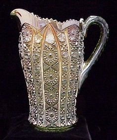 RARE IMPERIAL GREEN OCTAGON CARNIVAL GLASS PITCHER. HEIGHT 9 3/4