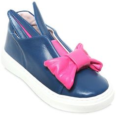 Bunny Bow Nappa Leather Slip-On Sneakers