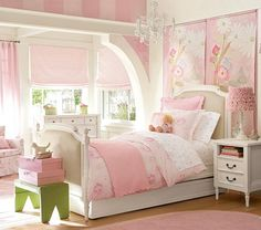 Cute bedroom and I love the lamp shade.