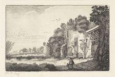 Jan van de Velde (II)   Vrouw met kind bij een ruïne van een huis, Jan van de Velde (II), 1616   Een vrouw met een kind bij een ruïne van een huis in een landschap. Vijfde prent van een serie van in totaal 52 prenten met landschappen, verdeeld over twee delen van elk 26 prenten.
