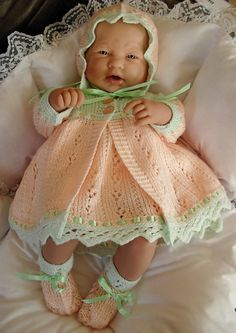 """Girl's pdf Knitting Pattern 4 Piece Outfit in all 3 sizes - Prem Baby 16/18"""" Doll, Newborn Baby 18/20"""" Doll, 0-3 Month Baby 20/22"""" Doll -MIA"""