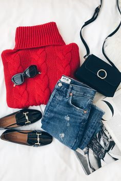 Red cowl neck with blue boyfriend jeans and black flats