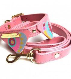Collier pour chien géométrique rose
