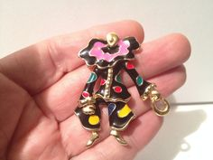 Vintage Gold Tone Enamel Clown Figure Legs Move Circus BROOCH Pin Costume Jewel  #Unbranded