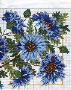 cornflower, part 1, embroidering cross-stitch