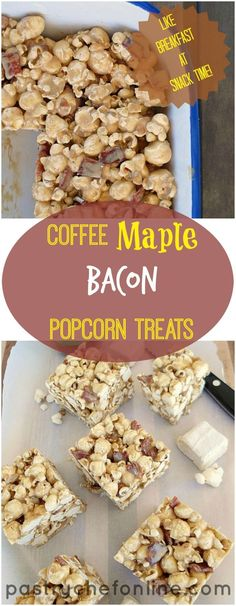 These Coffee Maple Bacon Popcorn Treats are just the thing when you're looking for something a bit different than your average Krispie treat. Made with homemade coffee marshmallow, maple syrup and crispy bits of bacon, I also give a variation for using store-bought marshmallows. | pastrychefonline.com