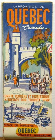 1941 quebec canada #vintage #travel tourist map brochure from $9.99