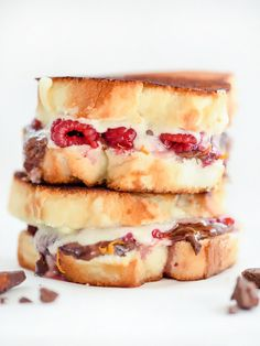 Raspberry chocolate grilled cheese sandwich