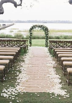 Outdoor Petal Lined Aisle Wedding Ceremony