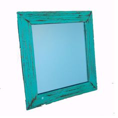 Wood Mirror Teal