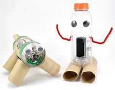 lesson plan for building junkbots, robots made from recycled materials. Recycled Art Projects, Stem Projects, Recycled Crafts, Recycled Materials, Projects For Kids, Project Ideas, Classroom Art Projects, Classroom Fun, Stem Robotics