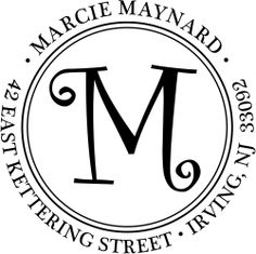 Graphic of a script monogram address stamp.