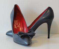 Vintage 80's Gray Leather Pumps Stiletto Heels Shoes-Detachable Bows-Spain-Deadstock-sz 39 or 8. $40.00, via Etsy.