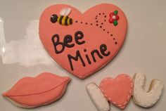 Bee Mine Heart, Lips, I love you - Decorated Sugar Cookies by I Am The Cookie Lady