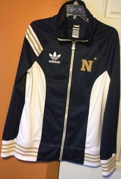 ULTRA RARE Adidas Trefoil US Naval Academy Zip Jacket Large Navy Blue Gold White #adidas #CoatsJackets
