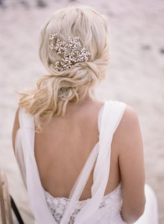 Gorgeous tousled updo & sparkly pins: http://www.stylemepretty.com/oregon-weddings/2015/09/04/romantic-seaside-bridal-boudoir-inspiration/ | Photography: Archetype Studio - http://archetypestudioinc.com/