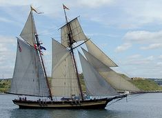 """The rakish 173 foot """"Pride of Baltimore II"""" is a replica of the famous 'Baltimore Clipper' type of fast topsail schooner."""