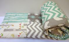Modern-Baby Quilt-Organic-Baby Boy Bedding-Birch Fabric-Chevron-Gray-Grey-Aqua-Woodland Animal-Elk-Elephant-Deer Baby Blanket on Etsy, $99.00