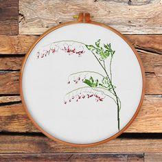 Bleeding Heart Flower cross stitch pattern modern by ThuHaDesign