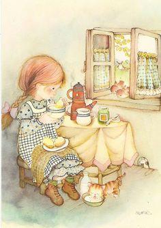 Girl drinking tea | par Paicil