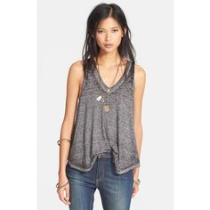 Free People 'Breezy' Seam Detail Slub Knit Tank (£25) ❤ liked on Polyvore featuring tops, charcoal, neon tops, layered tops, v neck tank top, layering tanks and knit tops