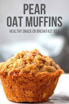 Use pantry staples to make these healthy pear oatmeal muffins for an easy make-ahead breakfast or snack. Packed with juicy pears, warm spices and whole grain oats, this muffin recipe is perfect for meal prep! Oat Muffins Healthy, Healthy Muffin Recipes, Oatmeal Muffins, Fruit Recipes, Baby Food Recipes, Smoothie Recipes, Sweet Recipes, Baking Recipes, Breakfast Recipes